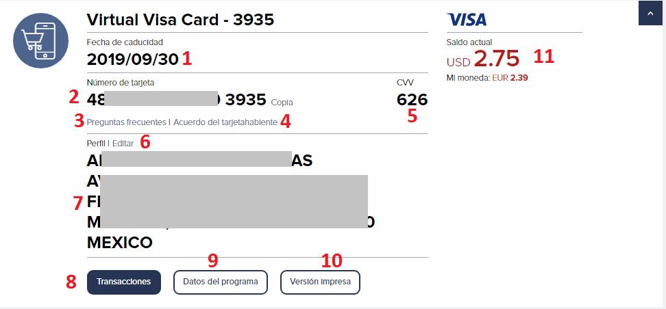 info tarjeta visa virtual